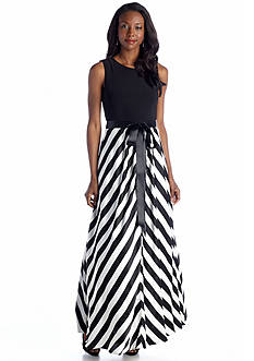 Betsy & Adam Sleeveless Gown with Sash