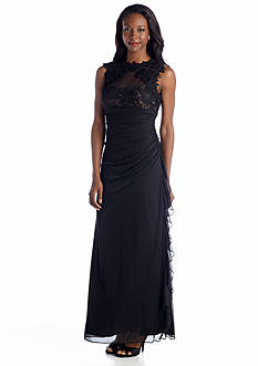 Betsy & Adam Sleeveless Gown with Lace