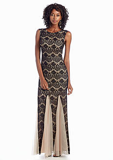 Betsy & Adam Sleeveless Lace Mermaid Gown