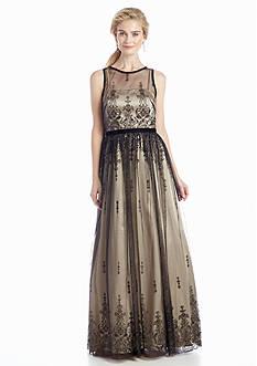 Betsy & Adam Sleeveless Illusion Neckline Gown
