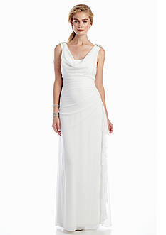 Betsy & Adam Cowl-neck Gown with Embellished Shoulders