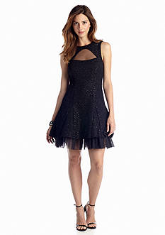 Betsy & Adam Glitter Fit-and-Flare Cocktail Dress