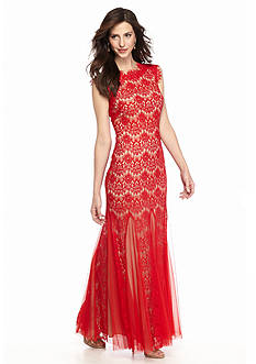 Betsy & Adam Allover Lace Gown