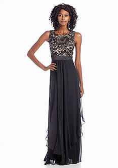 Betsy & Adam Sequin and Lace Gown with Chiffon Skirt