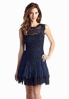 Betsy & Adam Lace Fit and Flare Cocktail Dress