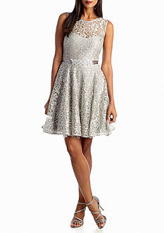 Betsy & Adam Allover Lace Cocktail Dress