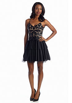 Betsy & Adam Sequin Bodice Cocktail Dress