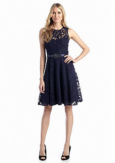 Betsy & Adam All-Over Lace Fit and Flare Cocktail Dress