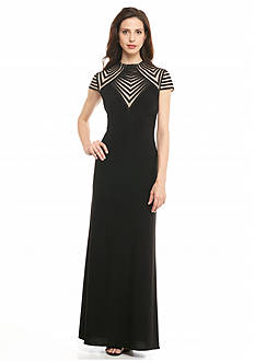Betsy & Adam Mock Neck Jersey Gown
