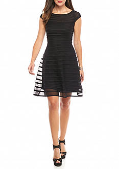 Betsy & Adam Power Mesh Stripe Fit and Flare Dress