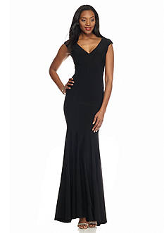 Betsy & Adam Double V-Neck Mermaid Gown