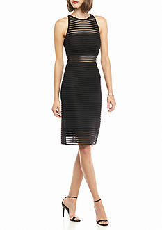 Betsy & Adam Banded Halter Sheath Dress