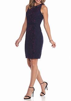 Betsy & Adam Bead Embellished Lace Sheath Dress