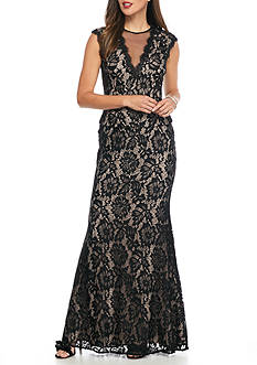 Betsy & Adam Lace Peplum Gown