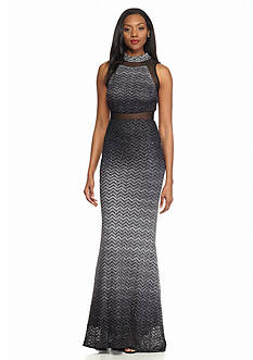Betsy & Adam Mesh with Glitter Evening Gown