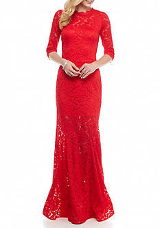Betsy & Adam Allover Lace Gown with Open Back