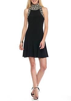 Betsy & Adam Bead Embellished Mock Neck Cocktail Dress