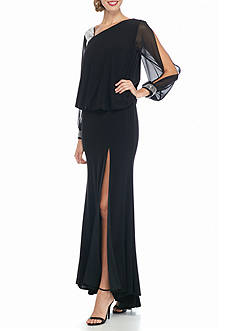Betsy & Adam Bead Embellished Blouson Gown