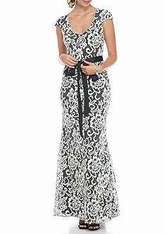 Betsy & Adam Lace Gown with Ribbon Sash