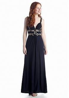 Betsy & Adam Deep V-Neckline Gown with Cutouts