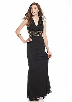 Betsy & Adam Bead and Sequin Trim Gown