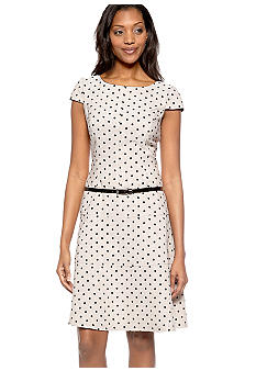 Kim Rogers Cap-Sleeved Polka Dot Belted Dress
