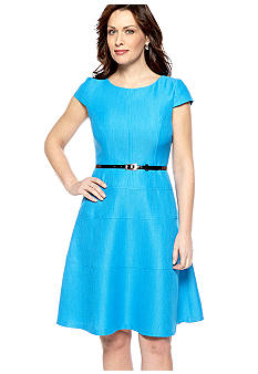 Kim Rogers Cap-Sleeved A-Line Belted Dress