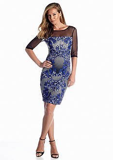 JAX Floral Printed Scuba Sheath Dress