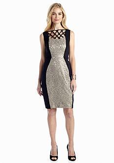JAX Sequin Lace Scuba Sheath Dress