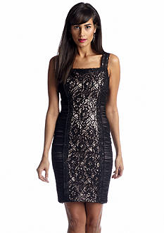 JAX Sleeveless Lace Panel Sheath Dress with Sequin