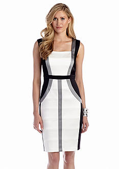 JAX Sleeveless Color Block Sheath Dress
