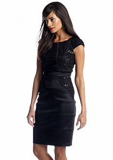 JAX Cap-Sleeve Satin with Lace Sheath Dress with Sequin