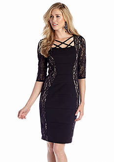 JAX Elbow Sleeve Sheath Dress with Lace