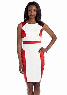 JAX Sleeveless Color Block Scuba Sheath Dress