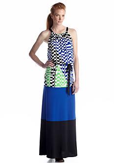 Maggy London Printed Halter Maxi Dress