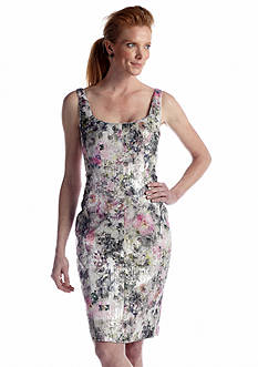 Maggy London Sleeveless Printed Brocade Sheath Dress