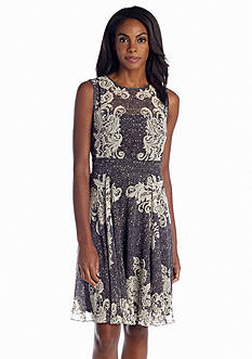 Maggy London Printed Chiffon Fit and Flare Dress