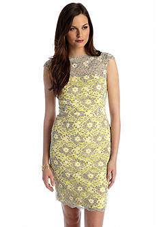Maggy London Cap Sleeve Allover Lace Sheath Dress