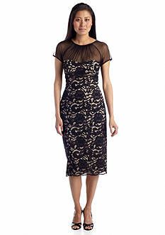 Maggy London Lace Sheath Dress with Illusion Neckline
