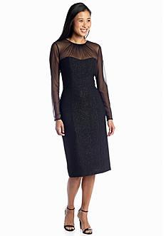Maggy London Foil Crepe Midi Sheath Cocktail Dress