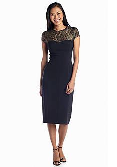 Cap-Sleeve Midi Sheath Dress