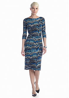Maggy London Printed Midi Sheath Dress