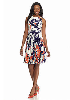 Maggy London Floral Printed Pleated Jersey Dress