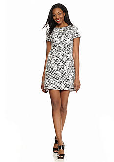 Maggy London Basket Weave Novelty Shift Dress