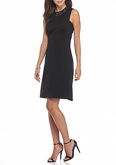 Maggy London Bead Embellished Scuba Fit and Flare Dress