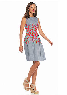 Maggy London Embroidered Chambray Fit and Flare Dress