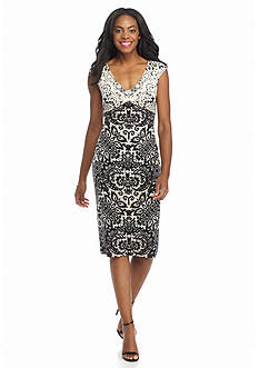Maggy London Twin Lace Printed Jersey Midi Sheath Dress