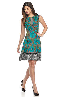 Maggy London Printed Scuba Floral Fit and Flare Dress