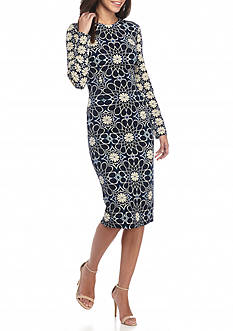 Maggy London Floral Printed Midi Sheath Dress