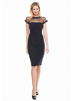 Maggy London Novelty Texture Knit Sheath Dress with Illusion Neckline